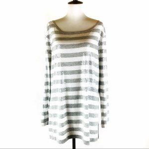 Joan Vass striped sequin long sleeve tee